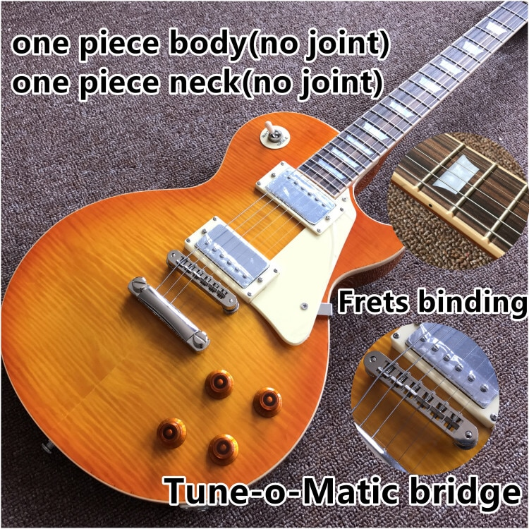 .Tiger Flame.one piece neck and one piece body Standard Electric guitar.Tune-o-Matic bridge.frets binding.mahogany body