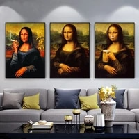 funny art mona lisa drink and smoking canvas paintings posters and prints da vinci famous wall art pictures for home decor