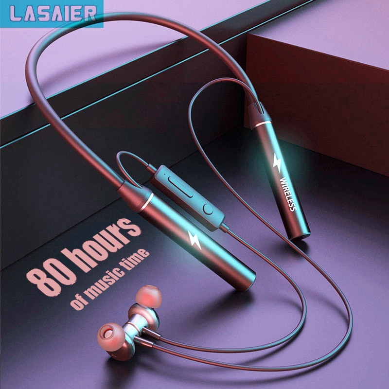 TWS 80 ساعة سماعة fone بلوتوث سماعات رأس لاسلكية المغناطيسي شريط حول الرقبة سماعات ستيريو باس سماعة أذن صغيرة رياضية مع إلغاء الضوضاء