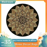 ethnic style printed round carpet new home accessories for bedroom area rug golden geometric pattern living room decor mats 2021