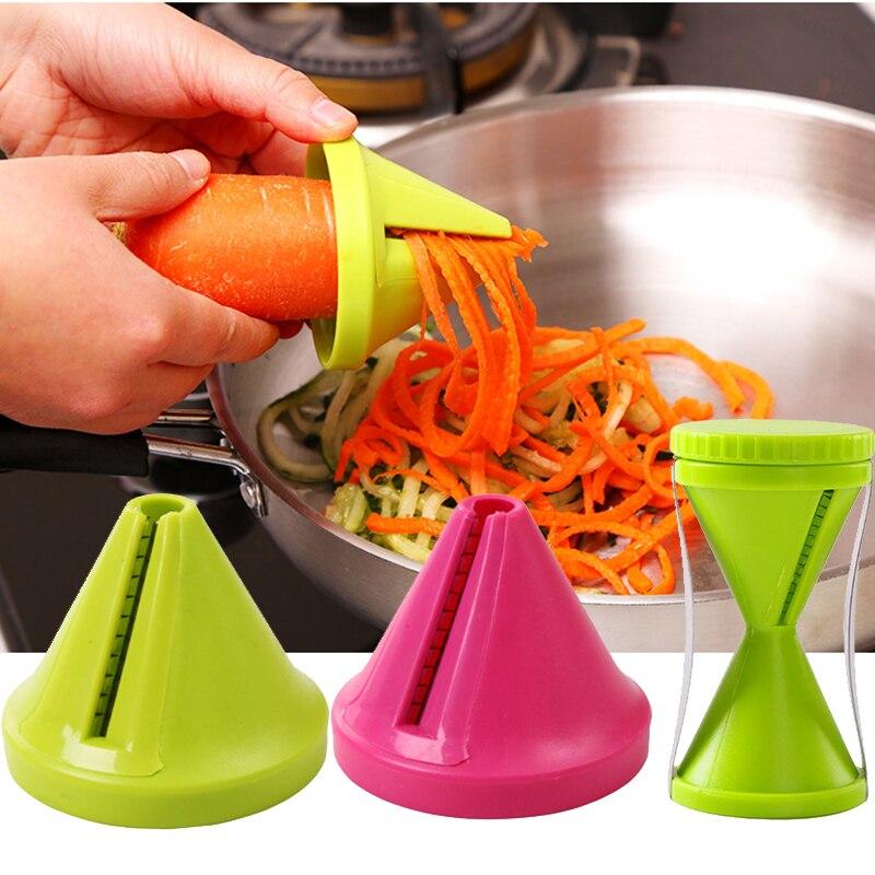 1 Uds espiral cortadora de embudo zanahoria rallador de vegetales Spiralizer cortador de vegetales Spiralizer para pepino calabacín cocina gadget