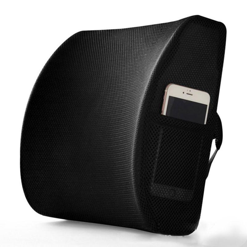 Almohada de apoyo Lumbar para asiento de coche silla de oficina masajeador de espuma de memoria suave cojín de cintura