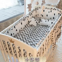New Arrived 6pcs Nursery Bedding Baby Cot bedding sets bumper cotton protetor de berco baby bumper(4bumpers+sheet+pillow cover)