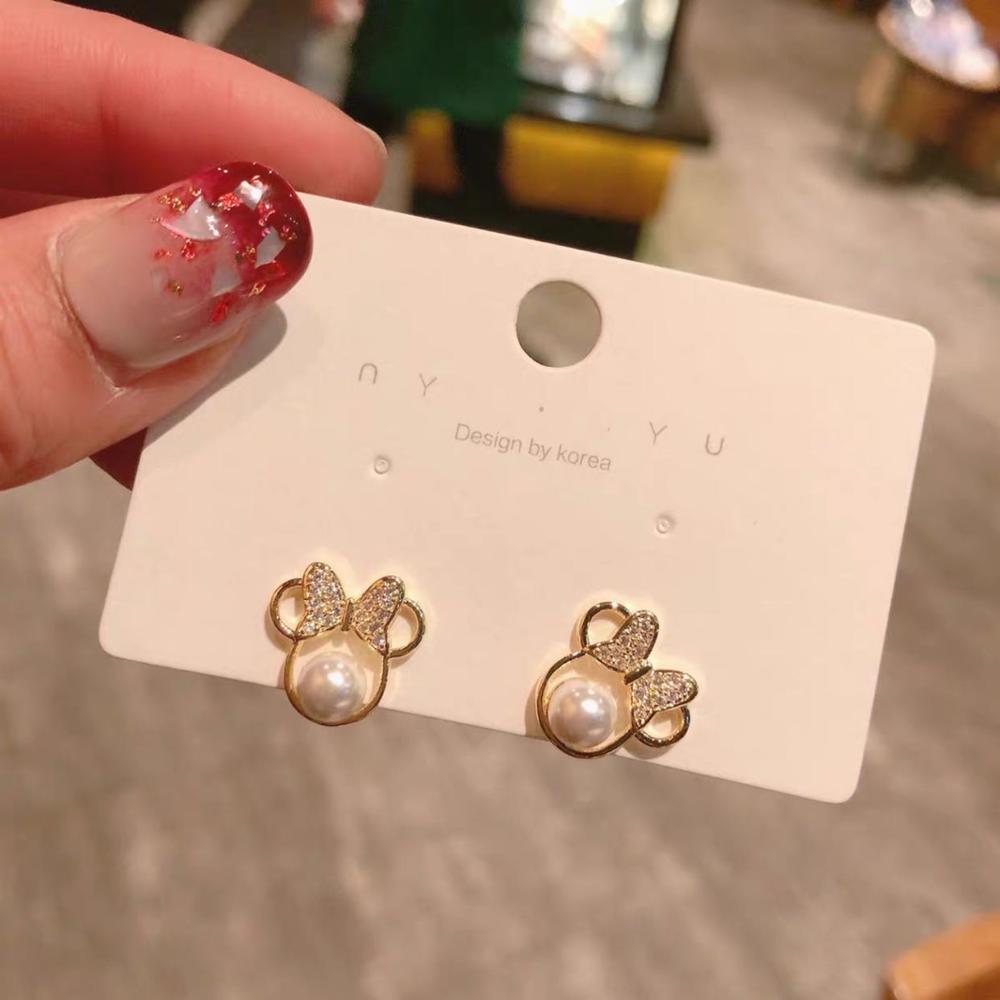 Anting-anting kristal mutiara kristal untuk wanita busur sederhana - Perhiasan fesyen - Foto 2