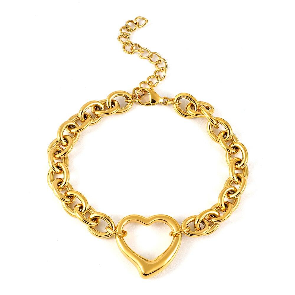 Fashion Vintage Hollow Love Heart Shape Bracelets Bangles For Women Chain Bracelet Europe American Style Valentine Jewelry Gift