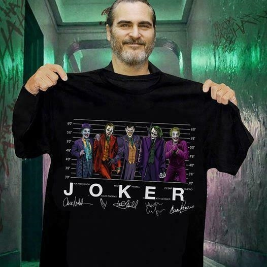 Joker Jack Nicholson Joaquin Phoenix Mark Hoss hamilla Ledger Cesar Romero Tshirt