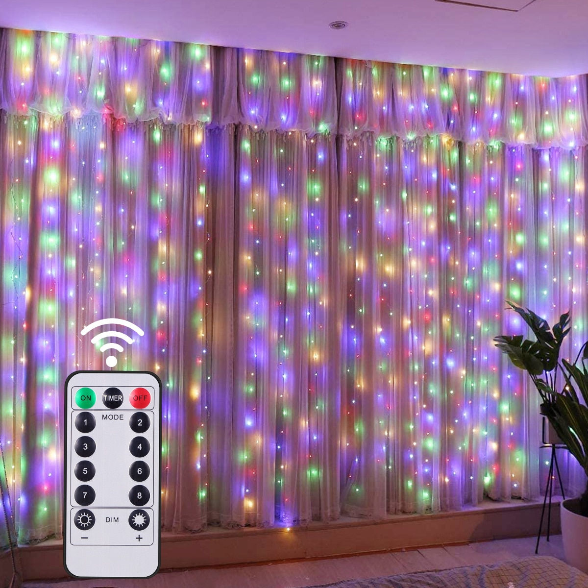 New Year RGB Garland Curtain Lamp Wedding Christmas Lights Festoon LED String Bedroom Decoration Curtains For Home Fairy Lights 3m globe led garland starry crystal wishing ball string lights decors for curtains bedroom living room balcony christmas wedding