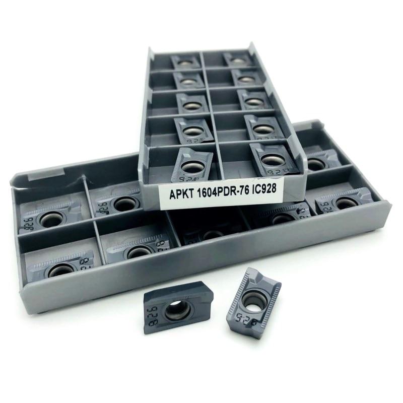 Ferramenta de Torneamento Ferramenta de Corte Ic928 Carboneto Inserção Fresagem Torneamento Torno 100 Pçs Apkt1604 Pdr 76