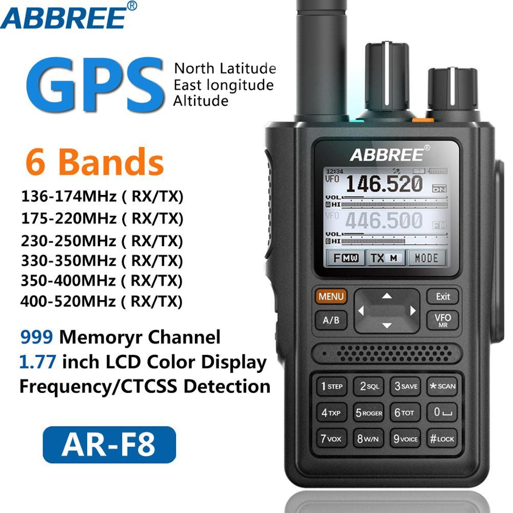ABBREE AR-F8 gps 6 полос (136-520 МГц) 8 Вт 999CH Многофункциональный VOX DTMF SOS lcd цветной любительский Ham двухстороннее Радио рация