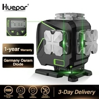 huepar 12 lines 3d cross line laser level lcd display bluetooth remote control functions green beam with hard carry case s03dg