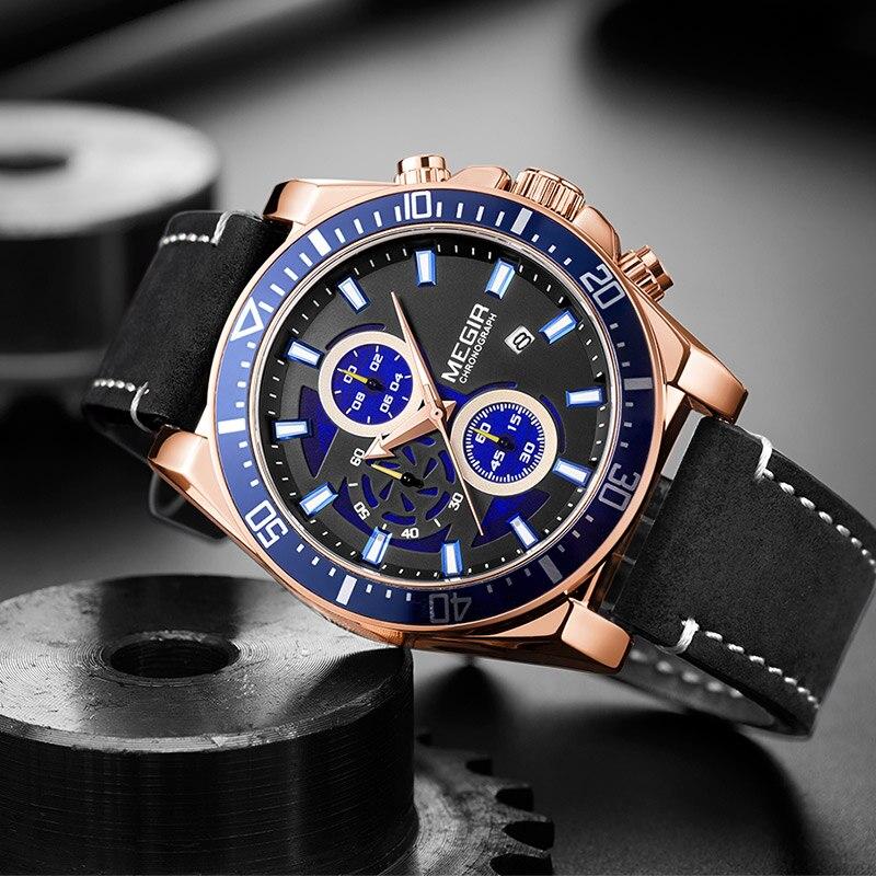 BAOGELA New Luxury Leather Strap Quartz Watches Men Fashion Casual Sports Chronograph Watch Man Waterproof Luminous Wristwatch