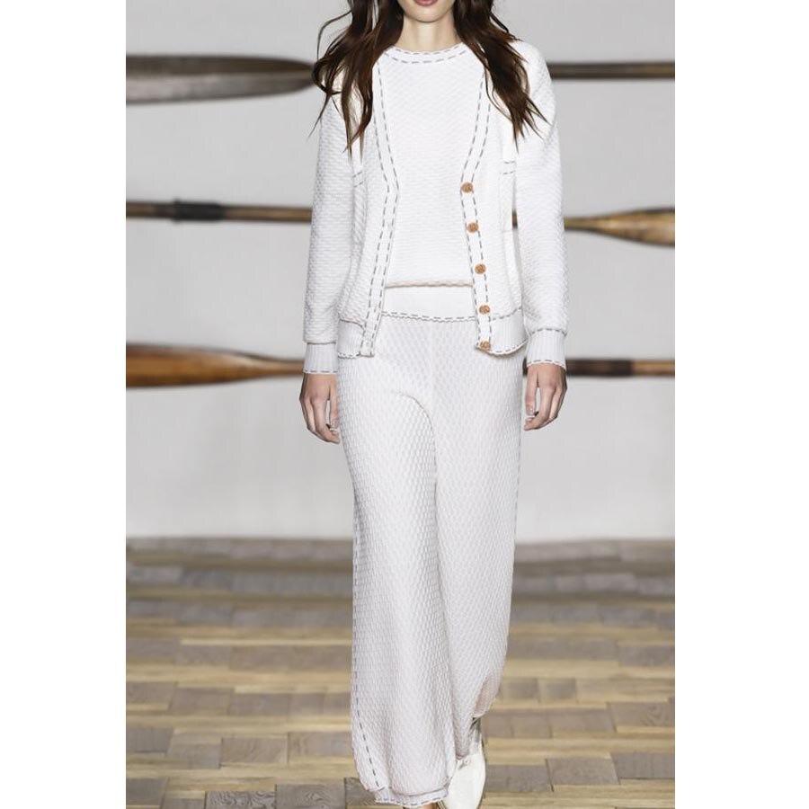 Diseñador de lujo mujeres moda cuello redondo Top + manga larga de una sola hilera de botones + Pantalones largos de pierna ancha tejer traje Casual 3PC