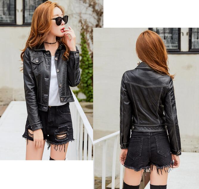 Spring and autumn new ZheJing Haining Fashional Motorcycle Hot sell Soft sheepskin  Leather jacket  Women's short Korean slim enlarge