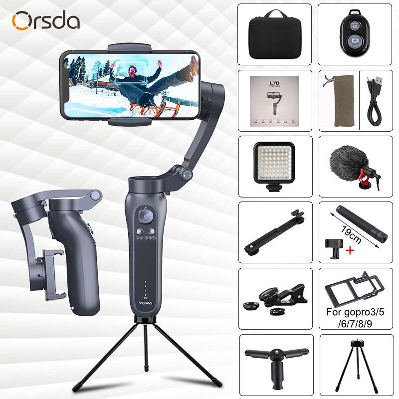 Estabilizador com Bluetooth Vlog ao Vivo Orsda Eixos Handheld Cardan Suporte Remoto Universal Direção Ajustável Telefone Estabilizador 3