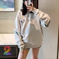 oversize ader sweatshirt fake two piece rivet label o neck tops mens womens pullover adererror double sleeve design sweatshirt