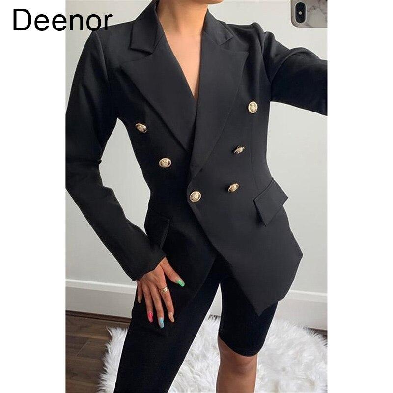 Женский однотонный костюм на пуговицах Deenor, осенний костюм с лацканами и длинным рукавом, однотонный костюм средней длины на пуговицах