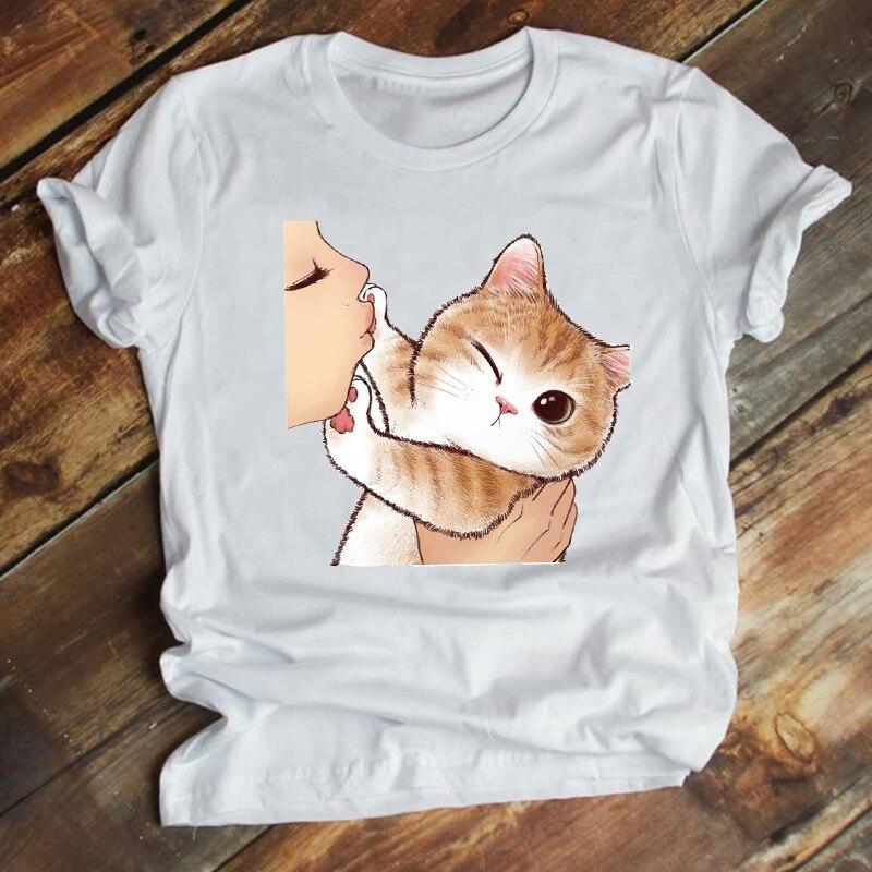 Женская одежда Kawaii с принтом кошки домашних животных летняя одежда трендовая стильная одежда футболка с принтом женская футболка Топ Футбо...