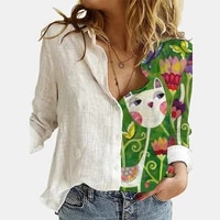 fashion womens long sleeve abstract cat print shirt spring and autumn loose top large size casual wear long sleeve blouse