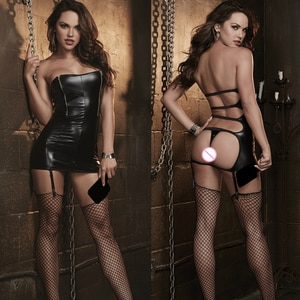 Erotic Sexy Leather Dress Backless Female Bodysuit PU Lingerie Femme for Sex American Clothing Gay Pole Dance Latex Sexi Catsuit