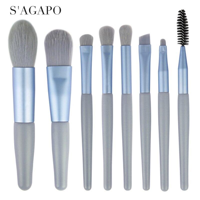 Set de Mini brochas de maquillaje agapo, 8 Uds., mango de madera mate, base, colorete de cejas, corrector, labios, herramientas de maquillaje de belleza