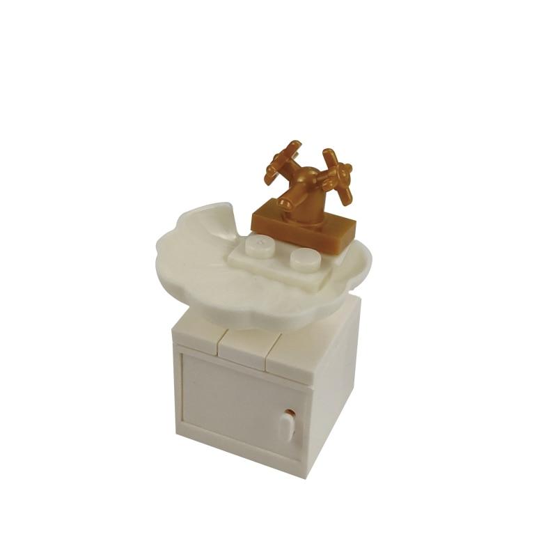 Accesorios DIY Concha blanca lavabo decoraciones juguetes educativos para niños modelos de ciudad MOC Compatible bloques de construcción