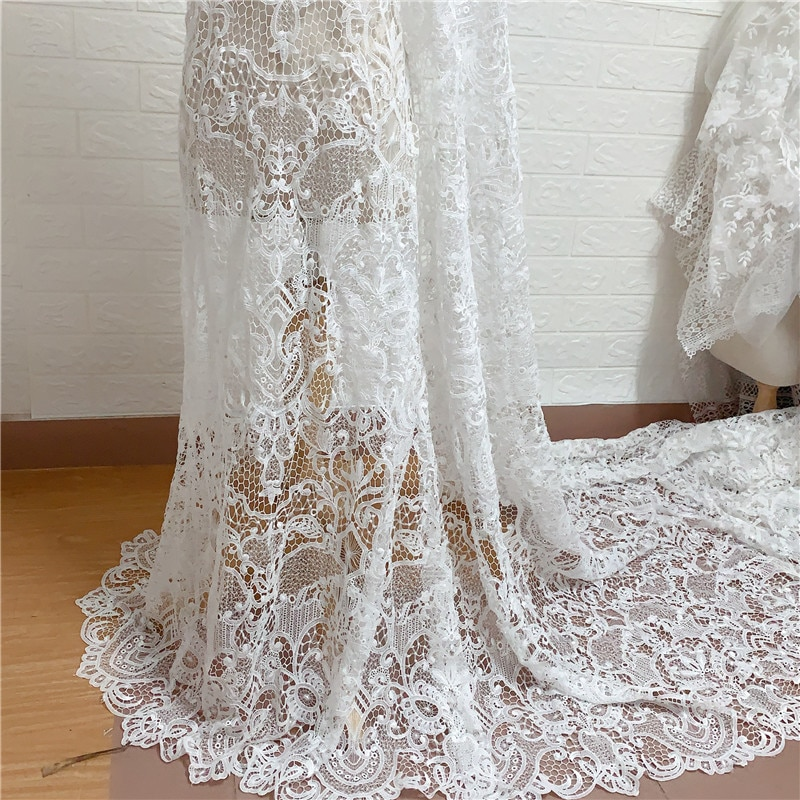 Vestido de novia de tela de guipur, 1 yardas, único blanco, encaje francés bordado de alta calidad