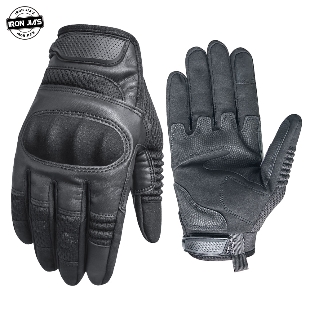 IRON JIA'S Motorcycle Gloves Men PU Leather Touch Screen Breathable Hard Knuckle Moto Riding Protective Gear Motocross Gloves
