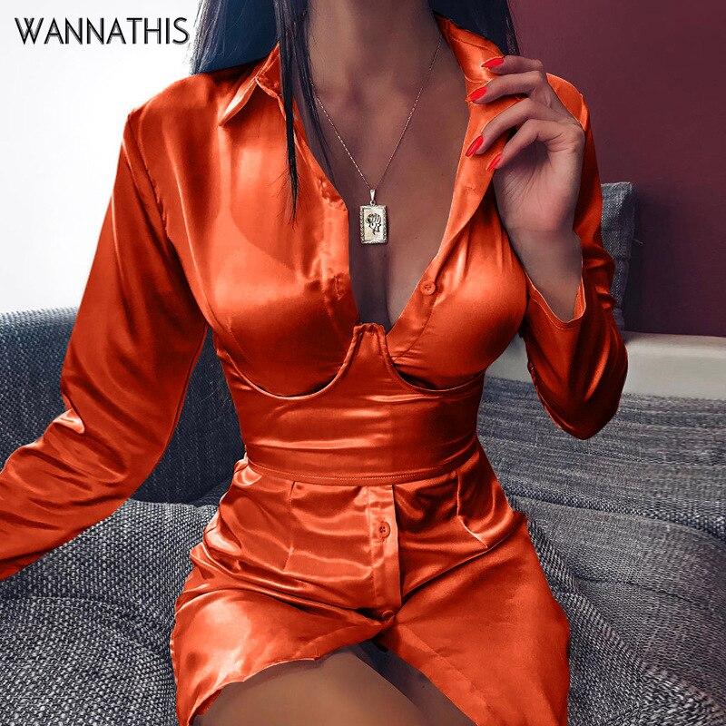 WannaThis Party Dresses Reflective Silk V-Neck Button Hight Waist Long Sleeve Satin Back Bandage Lace up Sexy Evening MIni Dress