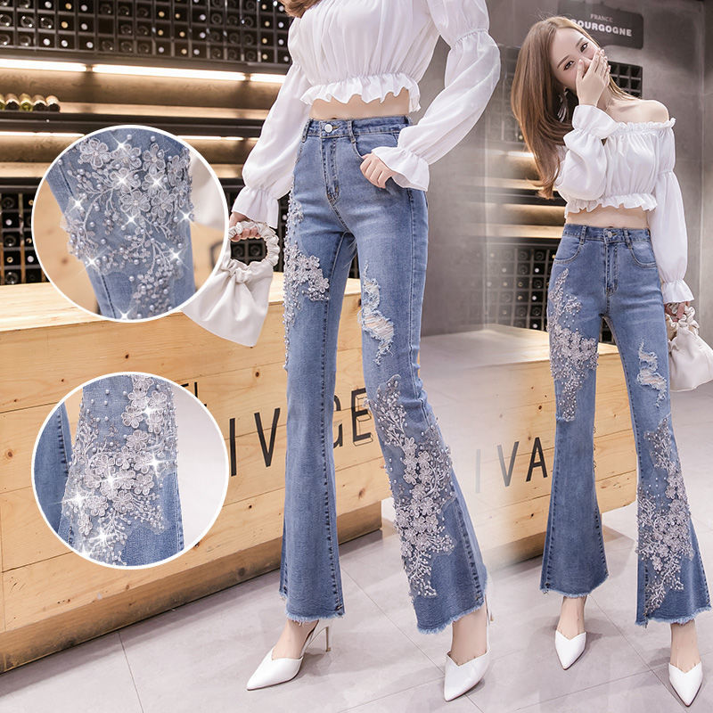 Women's Stretch Jeans, Women's Flared Trousers, Autumn 2021 New Style Beaded Embroidery, Thin Fishtail Micro-pants