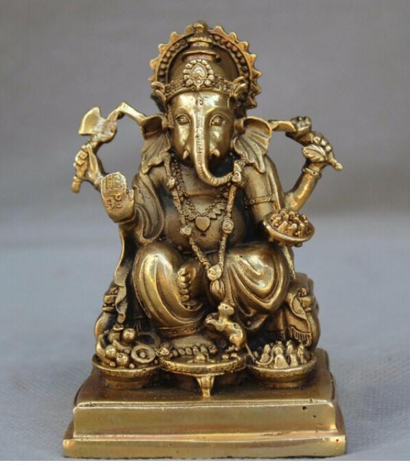 """Cobre satué 4 """"tibet, budismo latón 4 Ganesh señor elefante Ganesha estatua de Dios Buda"""