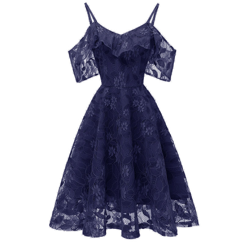 Slim Fit And Sexy A-line Women's Clothing Elegant Sling Print Lace Sleeve Bridesmaid Gown Ladies Off