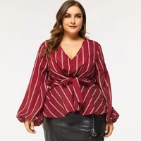 spring autumn tunic ladies tunics plus size wine red shirt white striped high waist bow belted lantern sleeve womens clothing