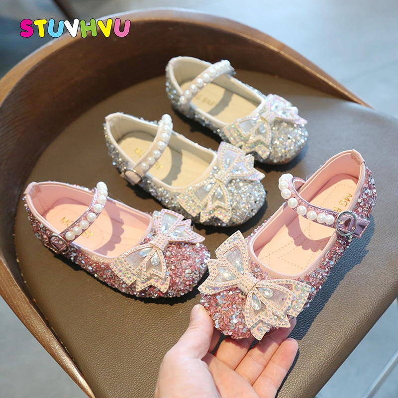 Sequin Leather Girls Shoes Rhinestone Bowknot Kids Shoes Princess Dance Single Casual Shoe 2021 New Party Wedding Children Shoes girls leather shoes children girls baby princess bowknot sneakers pearl diamond single shoes kids dance shoes newest autumn