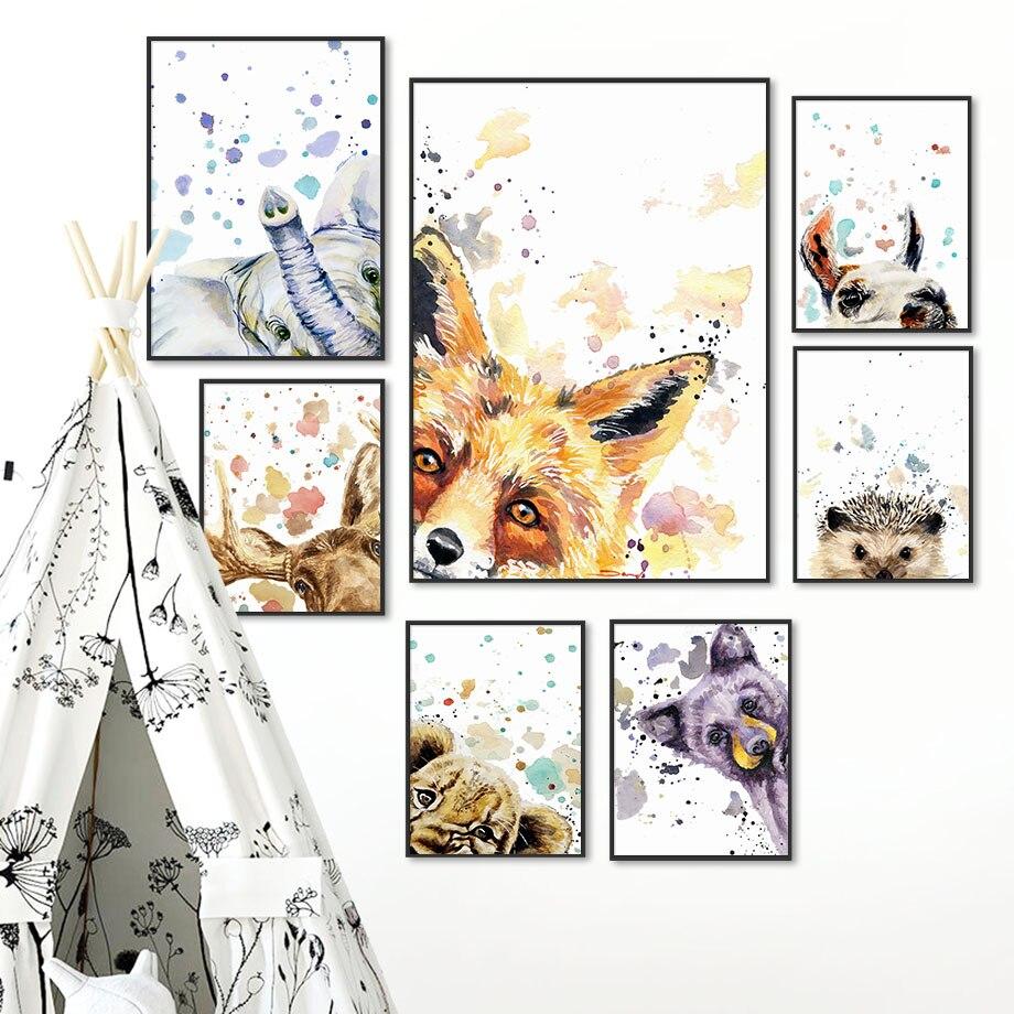 Nórdico posters e impressões coloridas raposa elefante veado ouriço arte da parede pintura da lona do berçário parede fotos para crianças quarto decoração