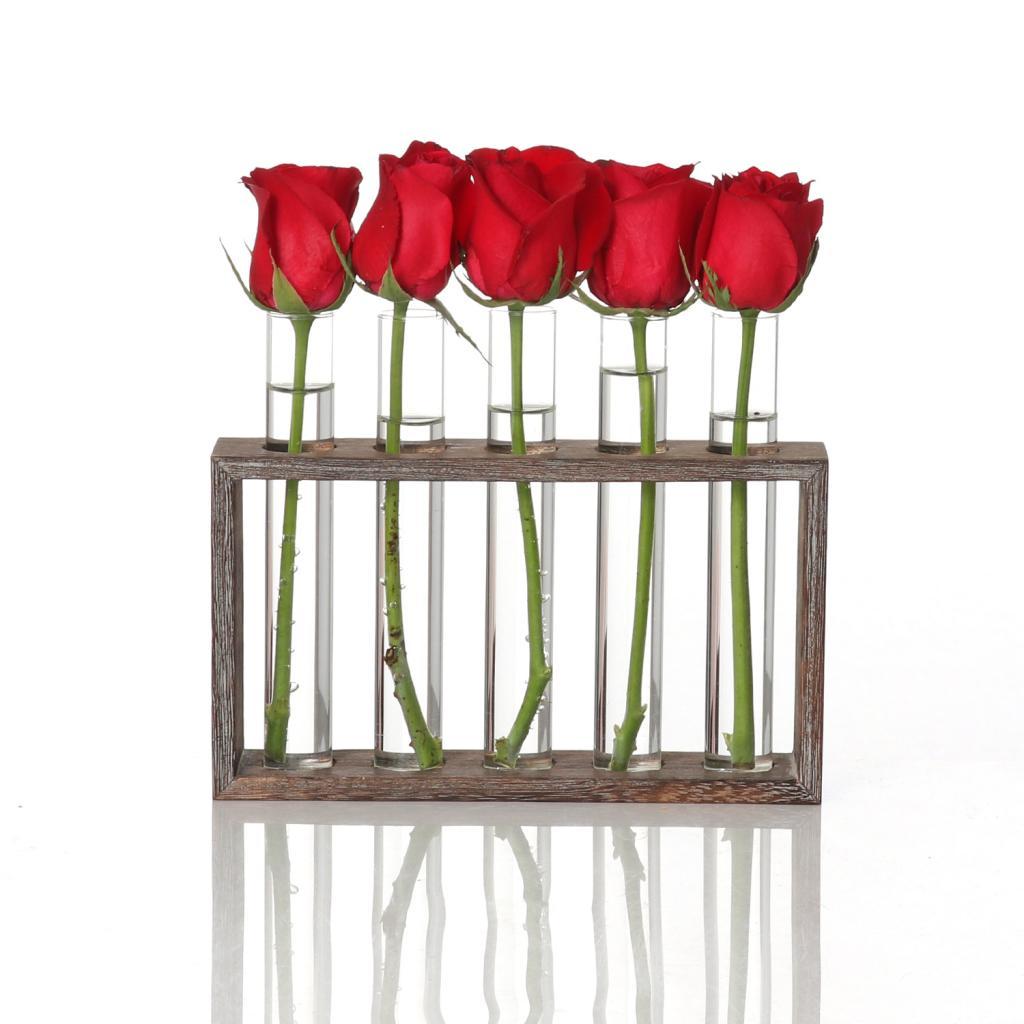 Maceta de tubo de prueba de florero de cristal de plantación de agua maceta moderna con soporte de mesa de madera sólida Retro para la decoración de la Oficina del hogar café
