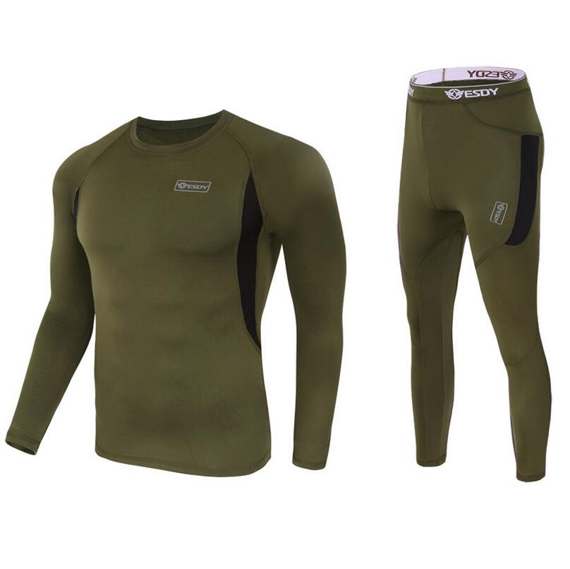Winter Men's Tactical Fleece Thermal Underwear Sweat Quick Drying Thermo Underwear Mens Breathable Elasticity Long  Pants