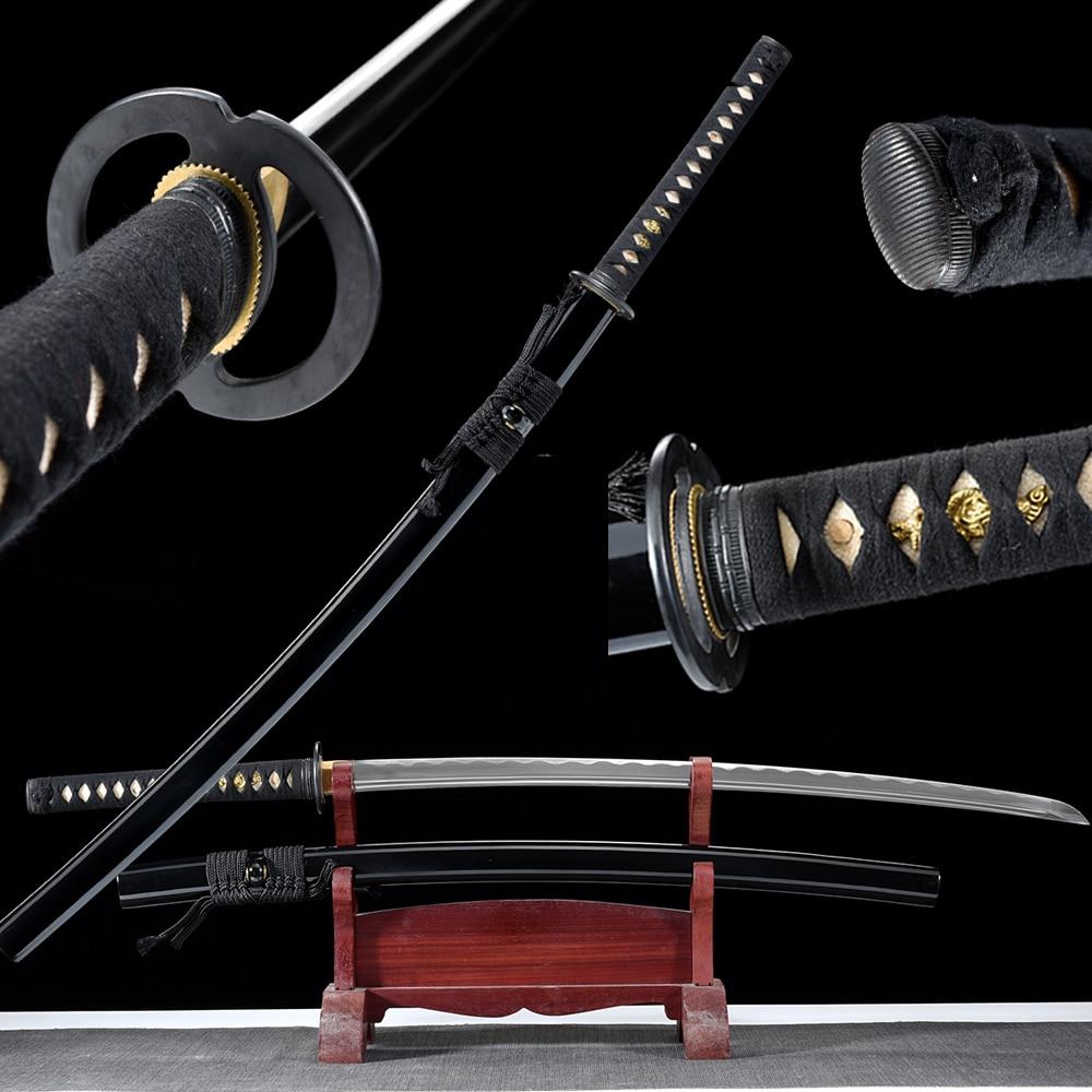 Verdadeiro Artesanal Japonês Katana 1060 Aço Carbono De Alta Lâmina Nitidez Navalha Para Corte-Musashi Samurai Completa Tang Espada
