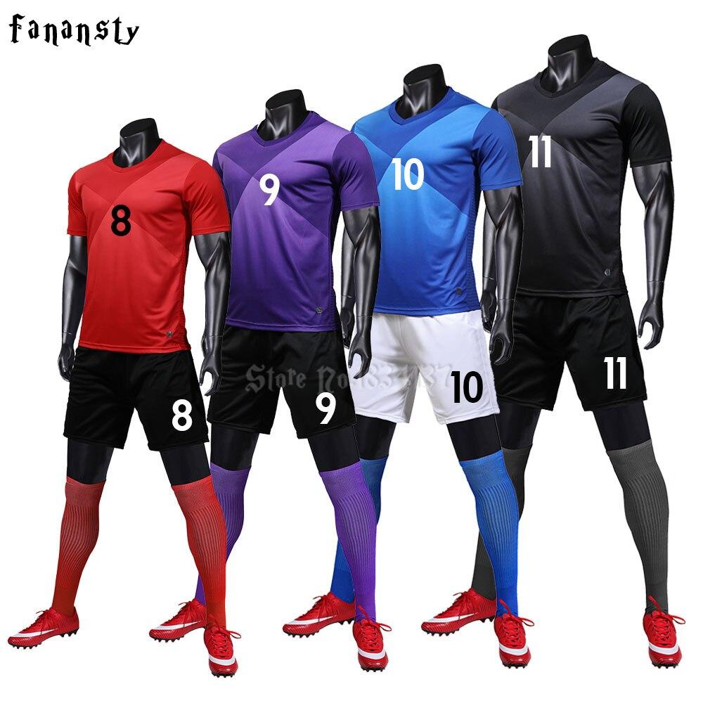Jerseys de fútbol personalizados adultos la universidad Survetement entrenamiento de fútbol uniformes atletismo corriendo ropa deportiva de los hombres de fútbol 2019