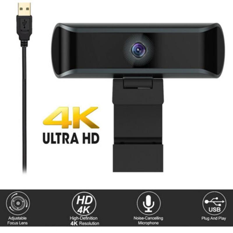 كاميرا ويب 4K HD 1080P مع ضبط تلقائي للصورة وميكروفون مدمج وفئات الكمبيوتر ومكالمات الفيديو وسطح المكتب والكمبيوتر المحمول