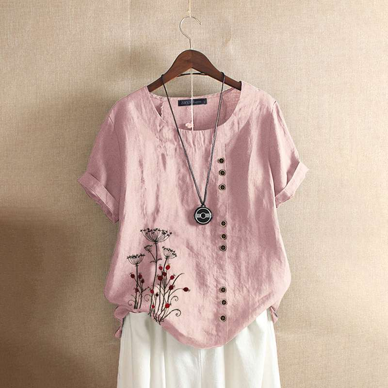2020 ZANZEA Vintage frauen Kurzarm Baumwolle Leinen Bluse Sommer Floral Gedruckt Tops Femininas Casual Shirt Blusas Plus Größe