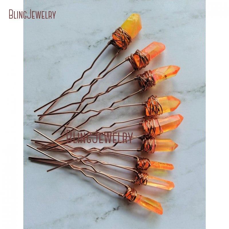 دبابيس شعر من الكوارتز والكريستال النيون البرتقالي ، إكسسوارات الشعر HJ27793