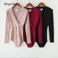 long sleeved bodysuit womens solid color v neck cross knitted jumpsuit blouse