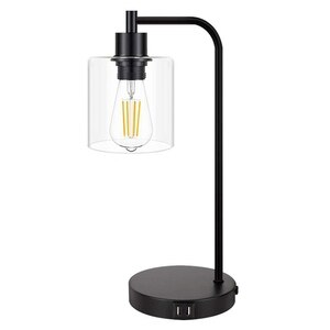 Industrial Press Control Table Lamps Bedside Nightstand Reading Lamps with Glass Shade for Bedroom Living Room US Plug