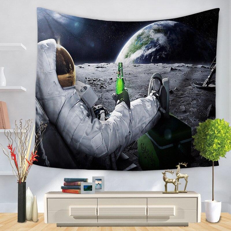 Astronauta estrellas tapices planeta psicodélico colgante de pared 3D espacio Panorama decoración Galaxy colchas pintura tejida TAP88