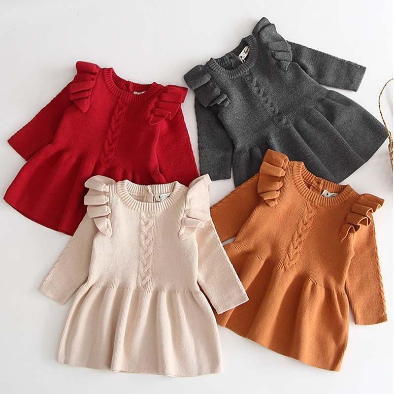 Winter Autumn Girl Dress Children Clothes Kids Dresses For Girls Party Dress Long Sleeve Knitted Sweater Toddler Girl Dress