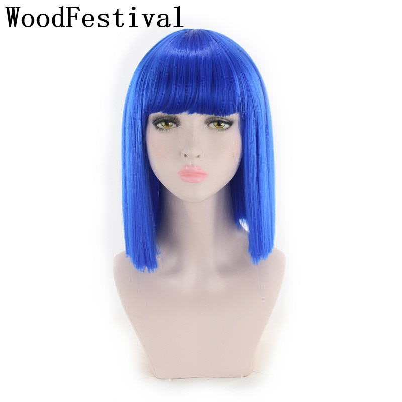 WoodFestival Short Straight Bob Synthetic Hair Wig With Bangs Cosplay Wigs For Women Pink Red Brown Blue Green White Purple Grey