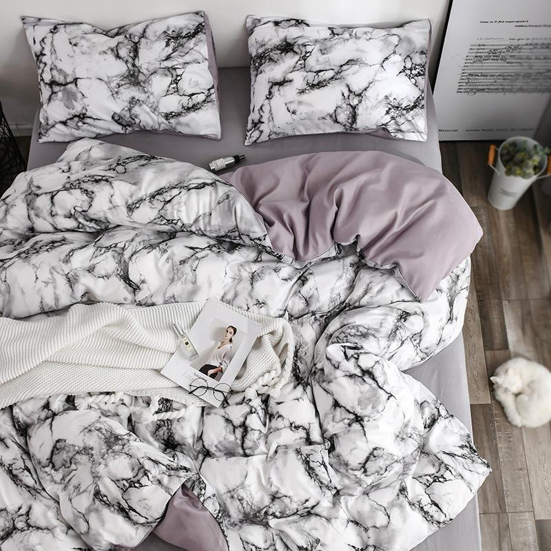 15 mármol blanco patrón juegos de ropa de cama Duvet Cover Set de 2/3pcs solo reina rey tamaño ropa de cama edredón (No de No relleno)