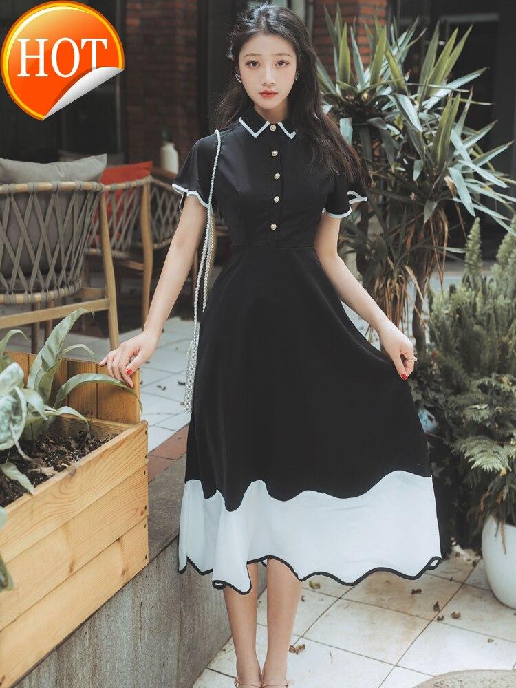 تنورة Platycodon الفرنسية للفتيات ، ملابس سوداء من Yamamoto فوق الركبة من الخصر تُظهر رقيقة ، فستان نسائي صيفي ، طراز خارجي