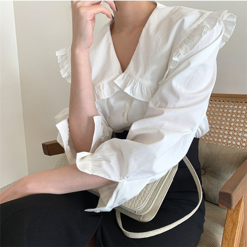 HziriP Casual Ruffles Tops Blouses Solid Chic Office Lady 2021 Gentle Shirts Vintage Women OL Elegance Loose All Match Clothe