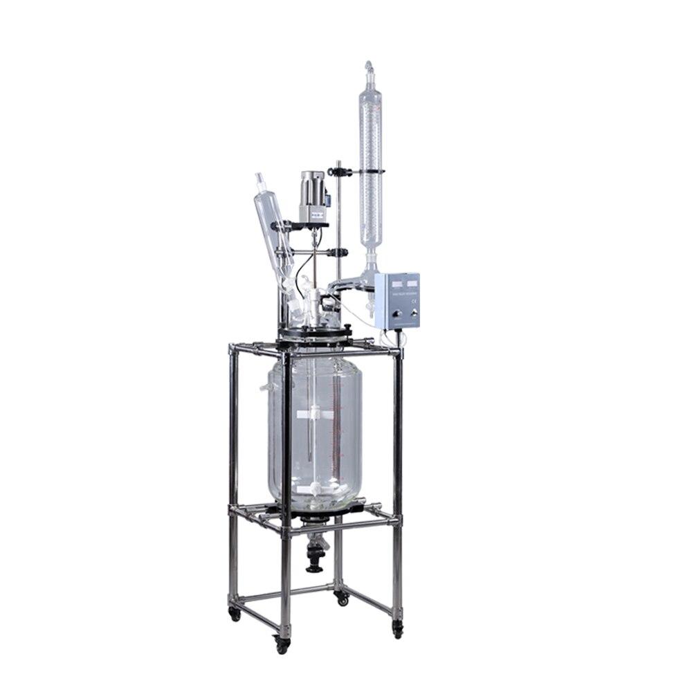 Лабораторное оборудование 20L лабораторный реактор из химического стекла высокого давления с двойной оболочкой